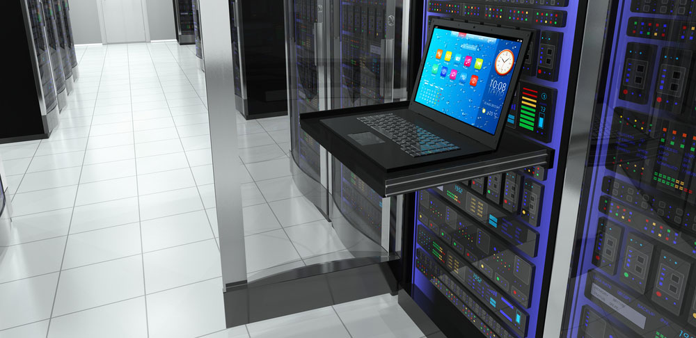 laptop connected to the server where we can host your web server or similar network solution